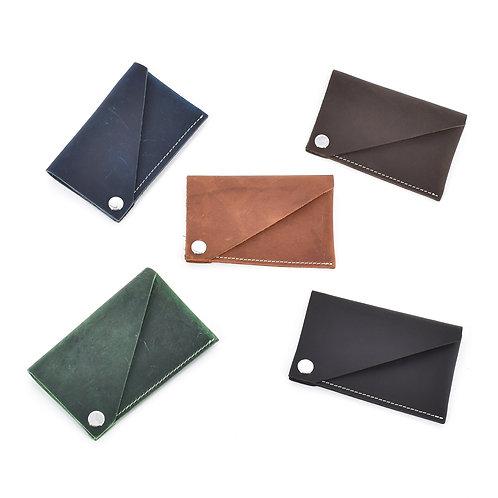 長方形開合式卡包(五色)(瘋馬皮)
