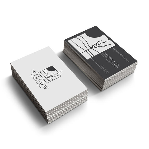 Willow Consulting Business Card Mock-Up.