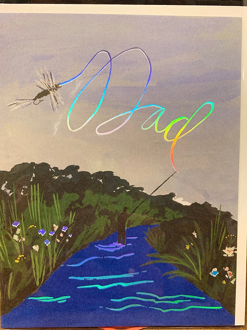 Fly fishing Dad Father's Day card