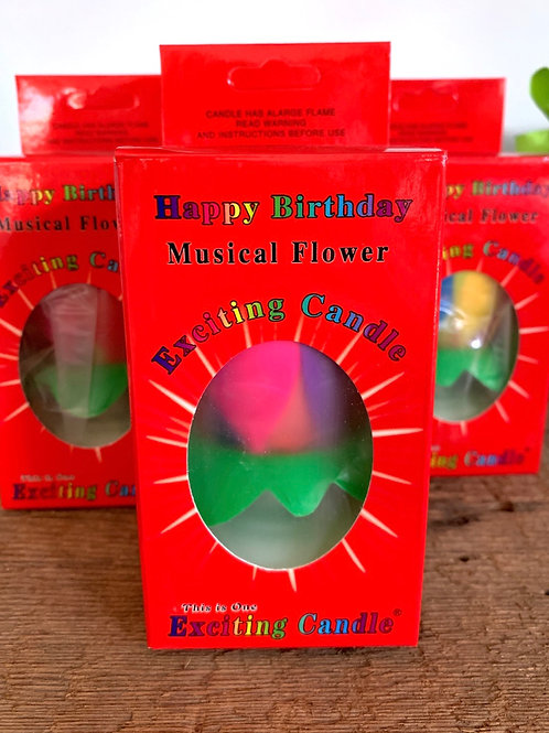 Happy Birthday Musical Flowe Exciting Candle