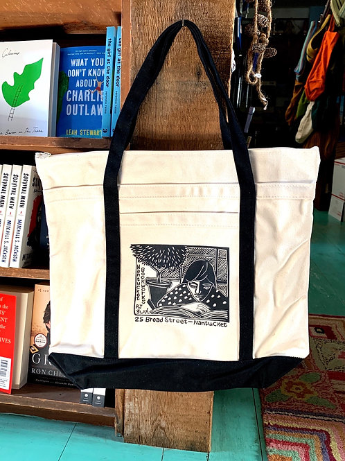 Bookworks Boat Bag with zippered top