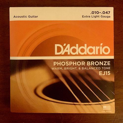 D'Addario Acoustic Guitar Strings - Phosphor Bronze EJ15 Extra Light Gauge