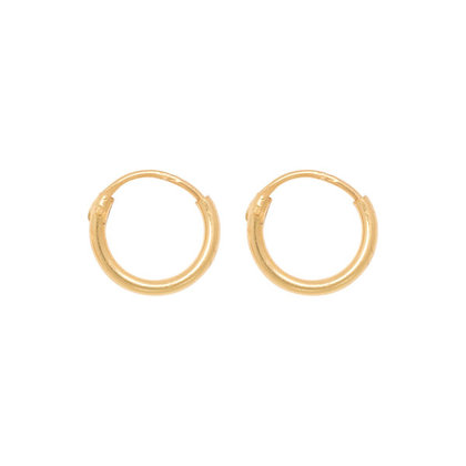 Tiny hoops (8mm) in gold plated sterling silver