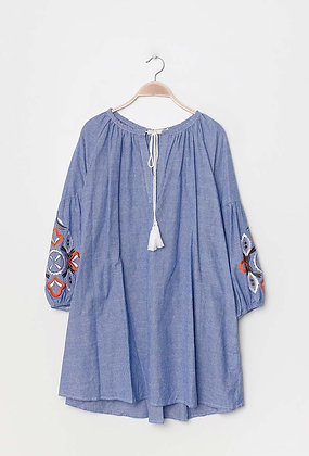 Embroidered dress blue