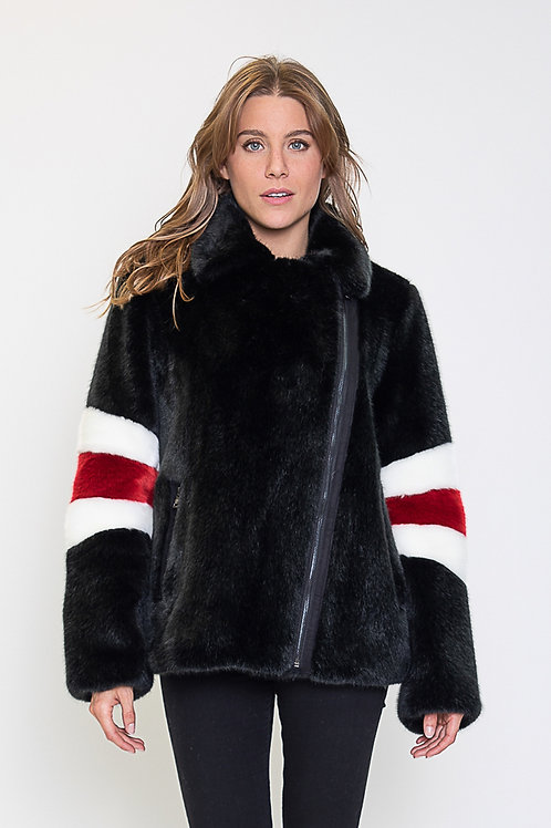 Black striped teddy coat