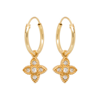 Essential zirconia hoops in gold plated sterling silver