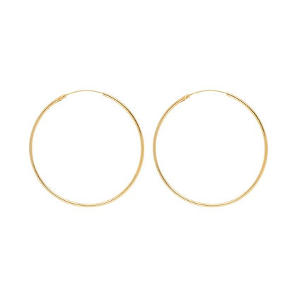 Large hoops (50mm) in gold plated sterling silver