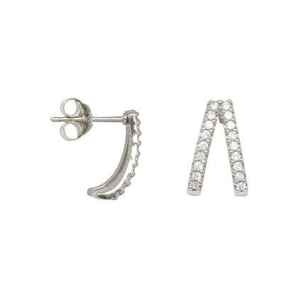 Double zirconia huggie earrings in sterling silver