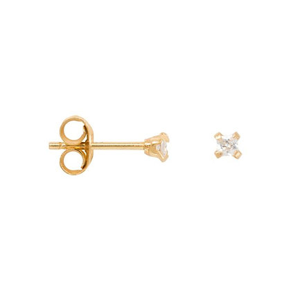 Square zirconia earrings (2mm) in gold plated sterling silver