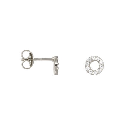 Zirconia circle earrings in sterling silver