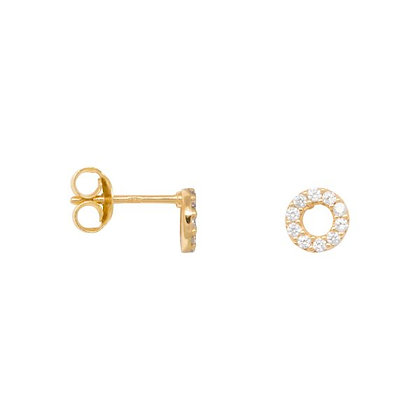 Zirconia circle earrings in gold plated sterling silver