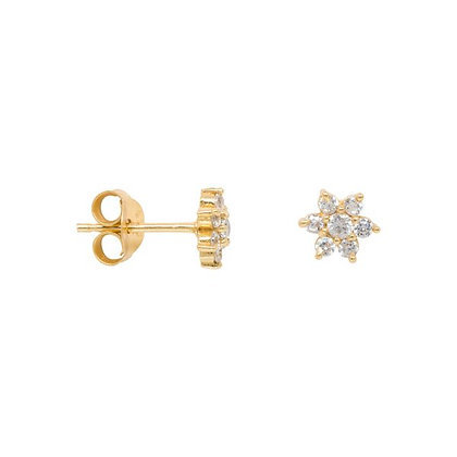Zirconia flower earrings in gold plated sterling silver