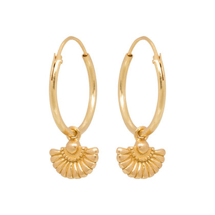 Deco waiver hoops in gold plated sterling silver