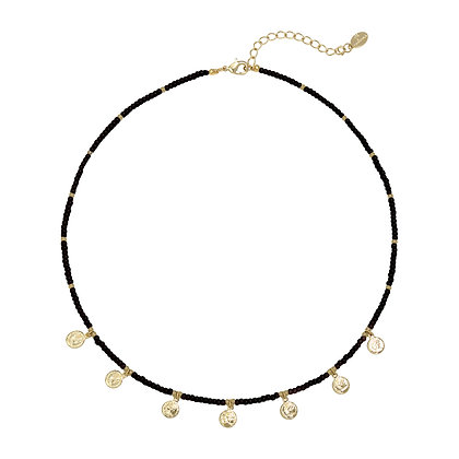 Cute coin necklace black