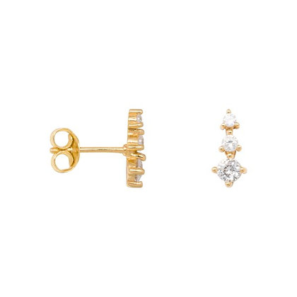 Zirconia cone earrings in gold plated sterling silver