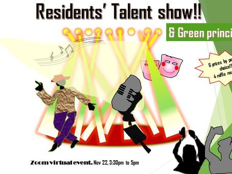 Residents' Talent events-Sept, Nov 2020