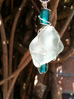 Aqua Sea Glass and beads - LRSGJ17