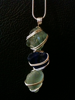 Cobalt and Pale Blue Sea Glass - LRSGJ23