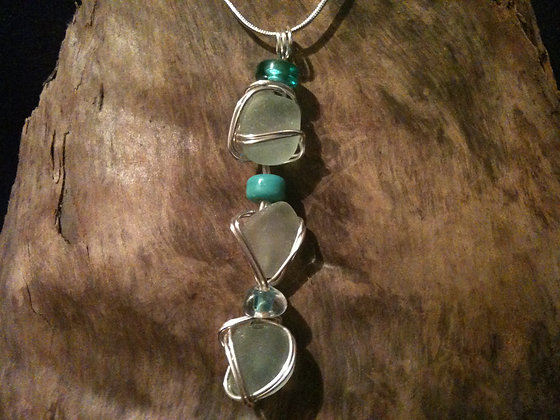 Aqua White Sea Glass - LRSGJ56