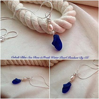 Cobalt Sea Glass & Pearl By CG - LRSGJ6/16