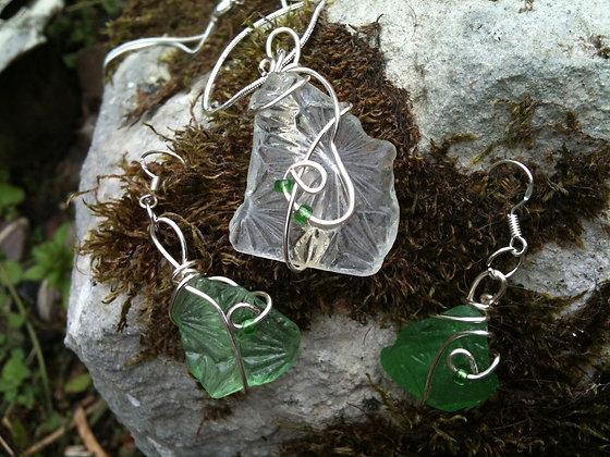 White, Green Sea Glass - LRSGJ306