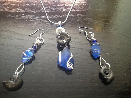 Cobalt Sea Glass & Ammonite - LRSGJ373