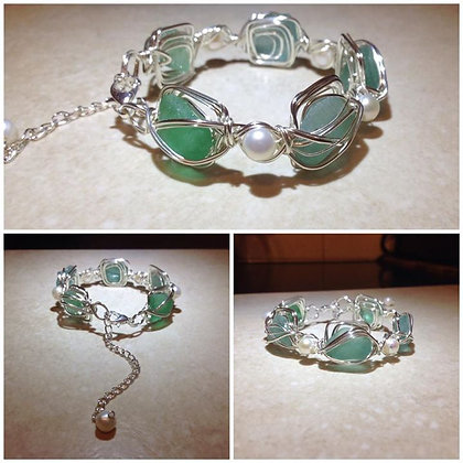 Aqua green Sea Glass & Fresh Water Pearl - LRSGJ605