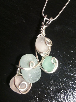 White, Aqua Sea Glass - LRSGJ510
