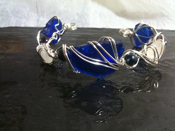 Cobalt Sea Glass, pearls and Fluorite- LRSGJ507