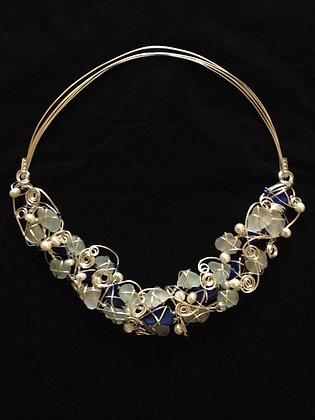 Aqua, Cobalt sea glass & pearl -LRSGJ568