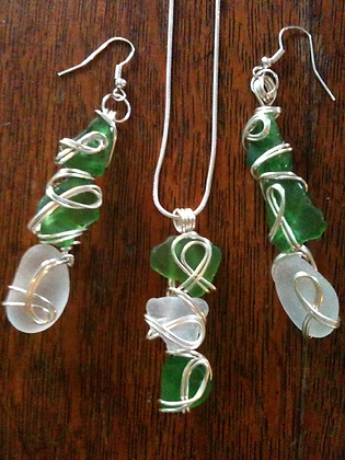 Green and White Sea Glass - LRSGJ12