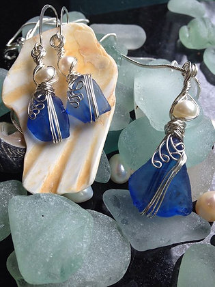Blue sea glass & pearl set - LRSGJ609