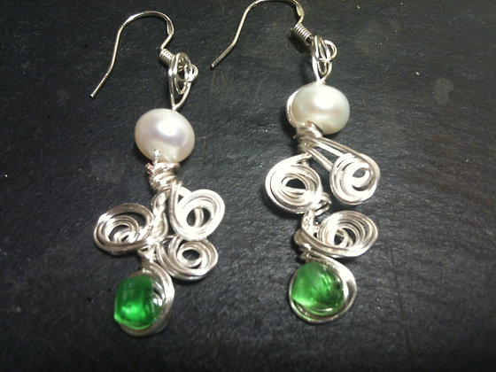 Green Sea Glass & Pearl - LRSGJ519