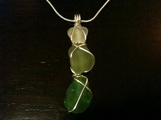 White, Green Sea Glass - LRSGJ388
