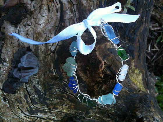 Cobalt blue, green and aqua sea glass - LRSGJ3