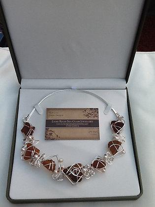 Amber Sea Glass & Fresh water pearl - LRSGJ550