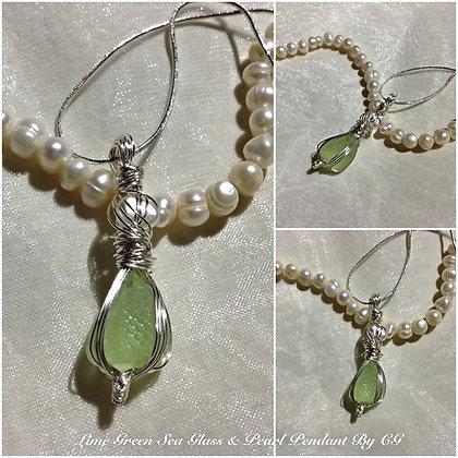 Lime Sea Glass & Pearl By CG - LRSGJ8/16