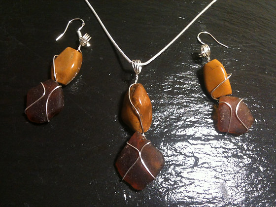 Amber Sea Glass and semi precious stone - LRSGJ512
