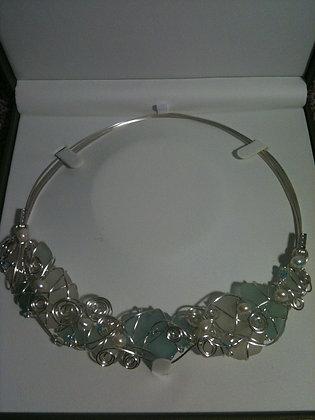 White, aqua seaglass & pearls - LRSGJ579