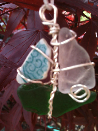 Green, White Sea Glass and Pottery - LRSGJ24