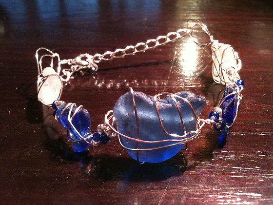 Cobalt, White Sea Glass - LRSGJ226