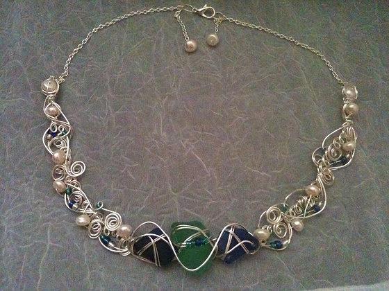 Cobalt, Teal Sea Glass & Pearl - LRSGJ595