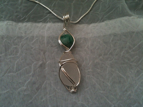 Jade Gemstone & White Sea Glass - LRSGJ520