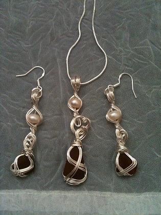 Amber Sea Glass & Fresh water pearl - LRSGJ559