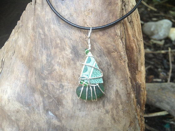 Pottery & Green Sea Glass - LRSGJ163