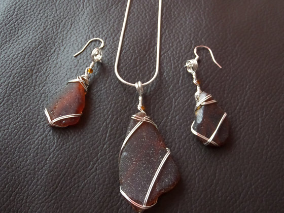 Amber Sea Glass - LRSGJ486