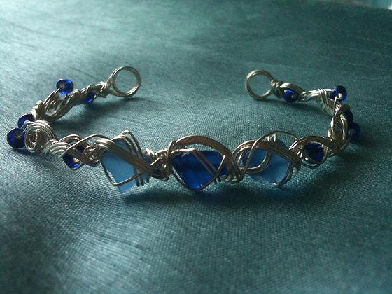 Cobalt & Cornflower blue sea glass - LRSGJ536