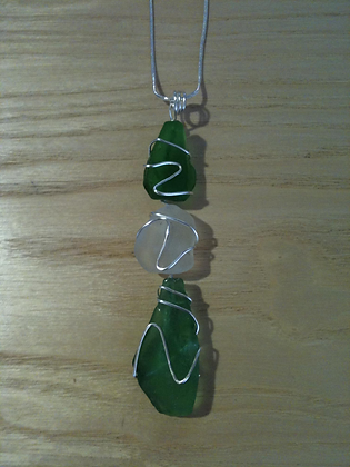 Green and White Sea Glass - LRSGJ11