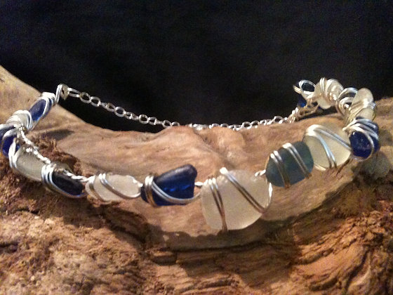 Cobalt blue and white Sea Glass - LRSGJ40