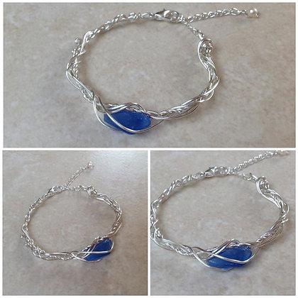 Cobalt Sea glass Bracelet - LRSGJ616